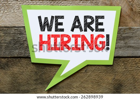 Speach bubble with we are hiring! - stock photo
