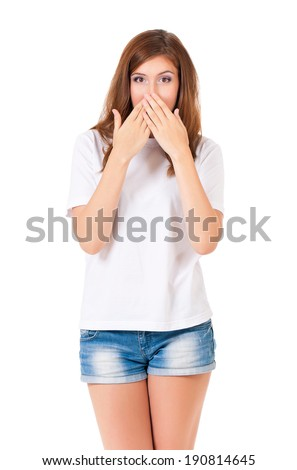 Speak no evil - portrait of young woman isolated on white background - stock photo