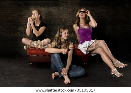 Speak no evil, see no evil and hear no evil, Part 2 modern pose - stock photo