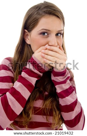 speak no evil  with white background - stock photo