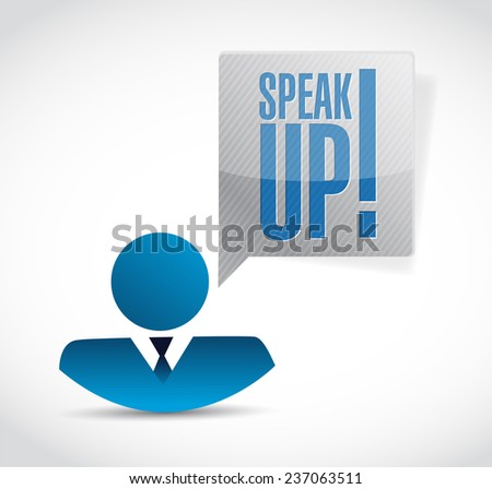 speak up avatar message illustration design over a white background - stock photo