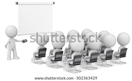 Speaker and Audience. Dude the Business people X 13 at seminar. Looking at blank projector screen. Copy space. - stock photo