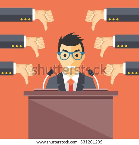 Speaker and thumbs down. Businessman at rostrum. Awful speech, bad speaker, nonproductive ideas flat illustration concept for web banners, web sites, printed materials. Creative flat illustration - stock photo