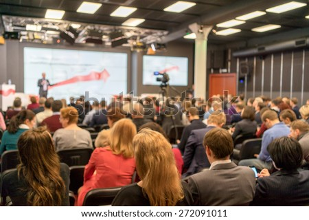Speaker at Business Conference and Presentation. Audience in the conference hall. Business and Entrepreneurship. - stock photo