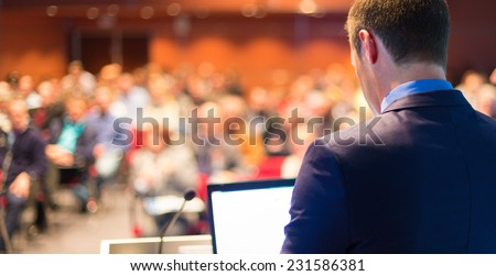 Speaker at Business Conference with Public Presentations. Audience at the conference hall. Entrepreneurship club. - stock photo