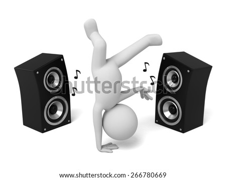 speaker/3d people dance with a speaker. 3d image. Isolated white background - stock photo