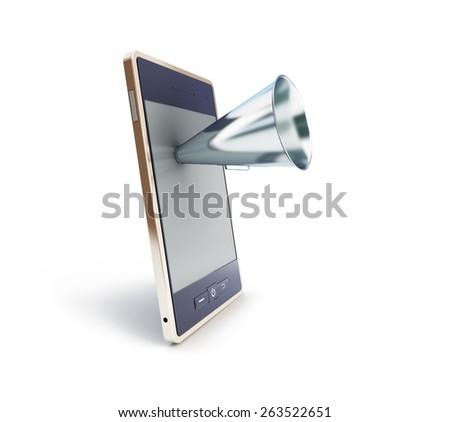 speaker for mobile phone on white background - stock photo