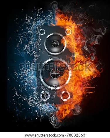 Speaker in fire and water. Illustration of the speaker enveloped in elements isolated on black background. High resolution speaker in fire and water image for a rock and roll concert poster. - stock photo