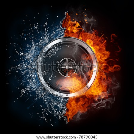 Speaker in fire and water. Illustration of the speaker enveloped in elements isolated on black background. High resolution speaker in fire and water image for a concert poster. - stock photo