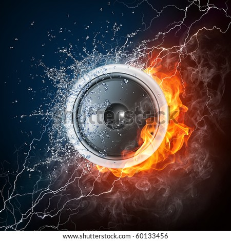 Speaker in fire and water. Illustration of the speaker enveloped in elements on black background. High resolution speaker in fire and water image for a guitar concert poster. - stock photo