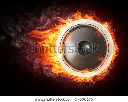 Speaker in fire flames isolated on black background.  - stock photo