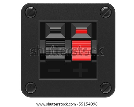 Speaker Input socket red and black on a white background - stock photo