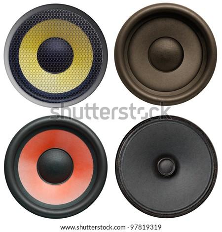 Speaker isolated on white, set - stock photo