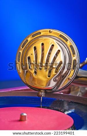 speaker of gramophone close up - stock photo