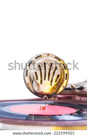 speaker of gramophone isolated - stock photo