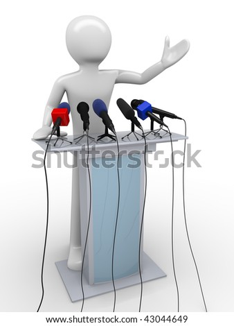 Speaker on a tribune (mass media series) - stock photo