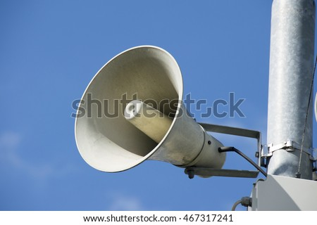 Speaker on high tower and clear sky - Megaphone