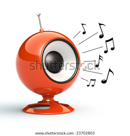 Speaker playing music. See my portfolio for more similar images. - stock photo