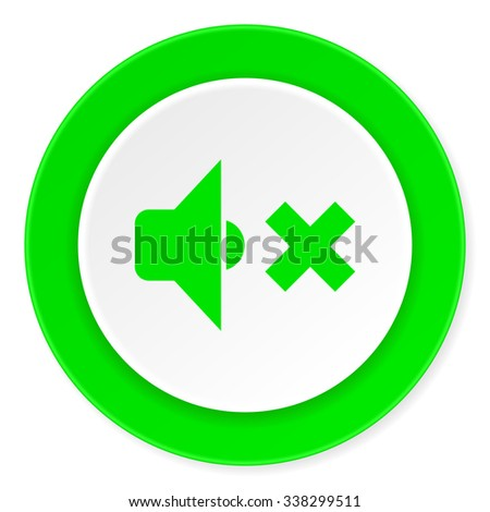 speaker volume green fresh circle 3d modern flat design icon on white background