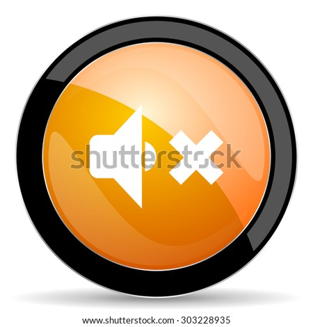 speaker volume orange icon music sign