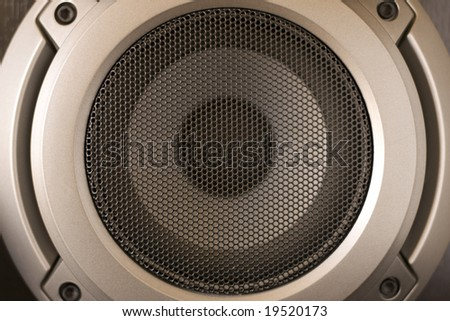 Speaker with metal grille close up