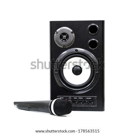 Speaker with microphone isolated white background. - stock photo
