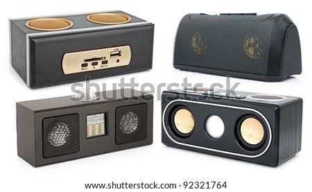 Speakers and MP3-player with card-reader and USB - stock photo