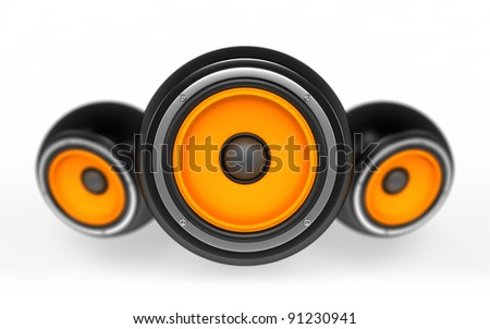 Speakers as ball isolated on white background - stock photo