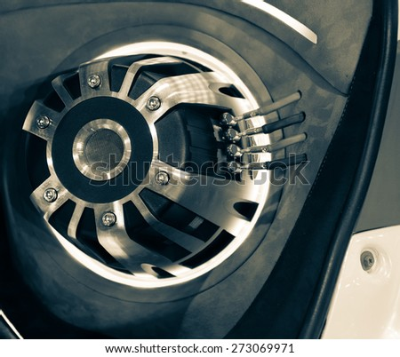 speakers in the car - stock photo