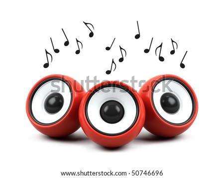 Speakers isolated on a white. - stock photo