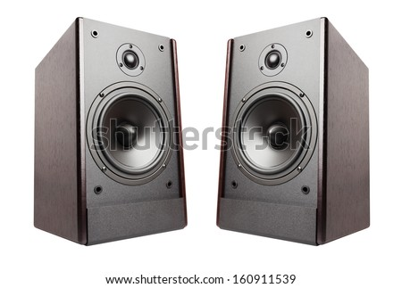 speakers isolated on white background - stock photo