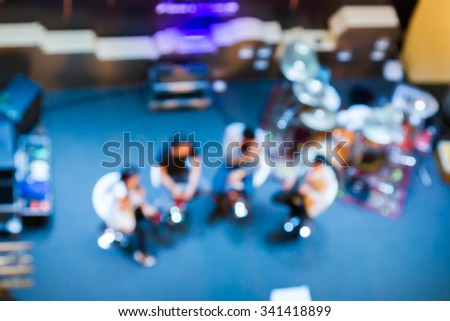 Speaking and acting on stage is a blur. - stock photo
