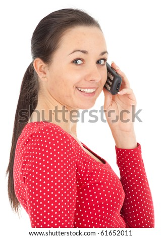 speaking by phone pimpled woman with acne - stock photo