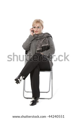 Speaking lady on white background - stock photo
