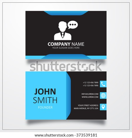 Speaking man icon. Business card vector template. - stock photo