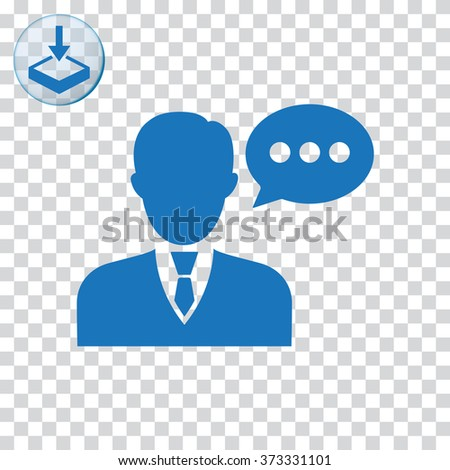 Speaking man icon. Man with bubble speech symbol - stock photo