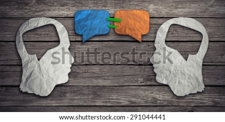 Speaking together social media concept as two crumpled pieces of paper shaped as human head with talk bubble icons taped as communication symbol for business compromise agreement - stock photo