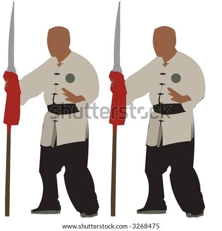 Spear Kung Fu Master - stock photo
