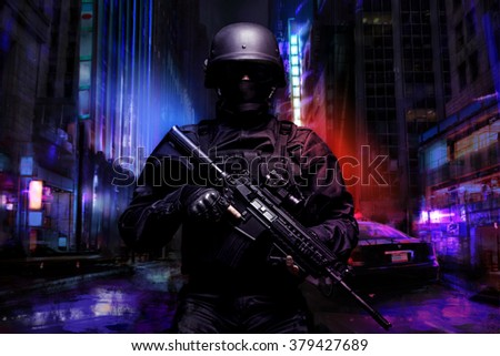 Spec ops police officer  - stock photo