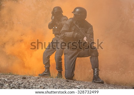 Spec ops police subdivision SWAT in action - stock photo
