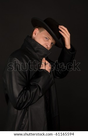 Special agent in black coat