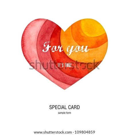 special card with heart - stock photo