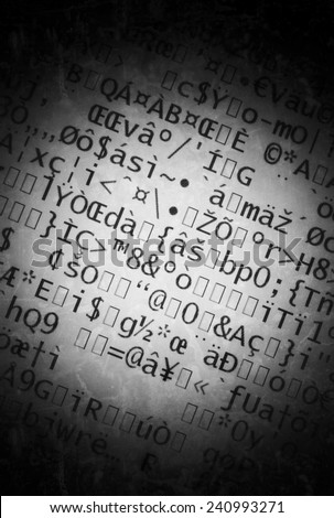 special characters - encoded data - stock photo