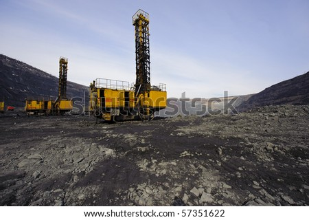 Special chisel machine tools for drilling of deep chinks for carrying out of explosive works in career - stock photo