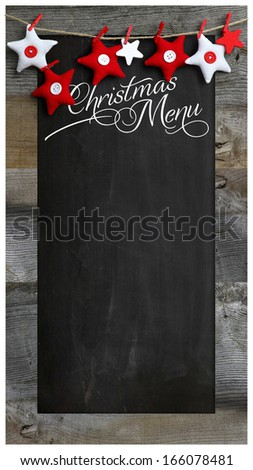 Special Christmas and New Year`s restaurant bistro menu design on vintage wooden blackboard with copy space