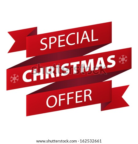 Special Christmas offer red ribbon banner icon isolated on white background. Illustration - stock photo