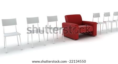 special comfortable armchair between ordinary seats - stock photo