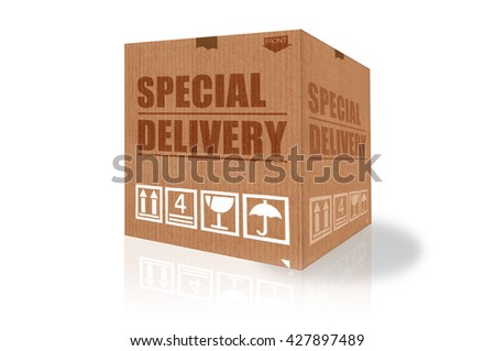 Special delivery cardboard box - stock photo