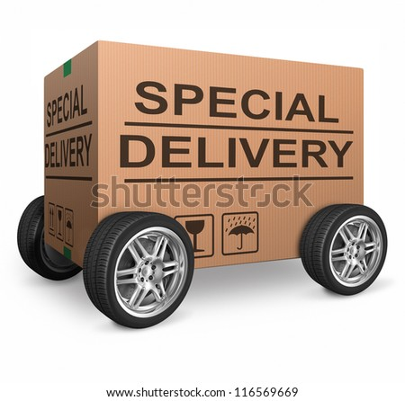 special delivery important package shipment special package sending express shipping cardboard box isolated and with text webshop web shop icon - stock photo