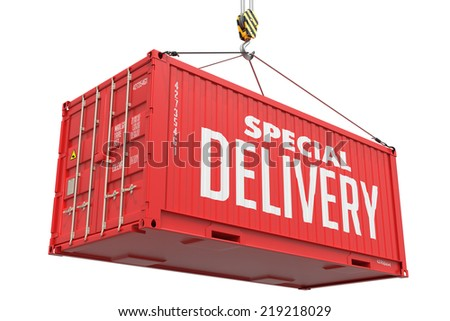 Special Delivery - Red Cargo Container hoisted with hook Isolated on White Background. - stock photo